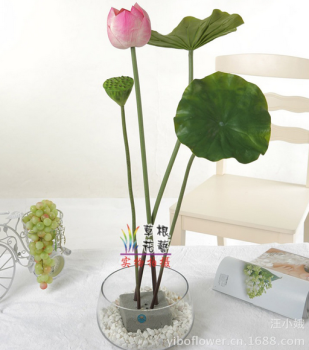2016: www.shyosdy.com PU lotus leaf lotus flower with hand rod lotus pond artificial flowers