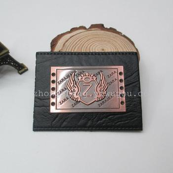 High grade PVC alloy ZARA alloy standard leather leather brand jeans leather label a small spot