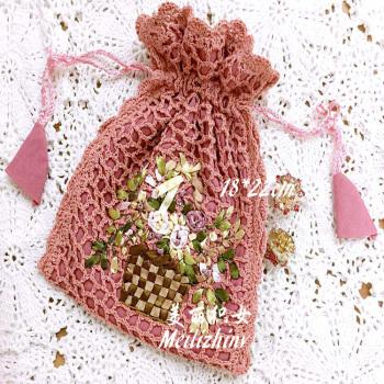 美丽织女纯棉手工钩织+丝带绣花可随身携带韩版小提袋