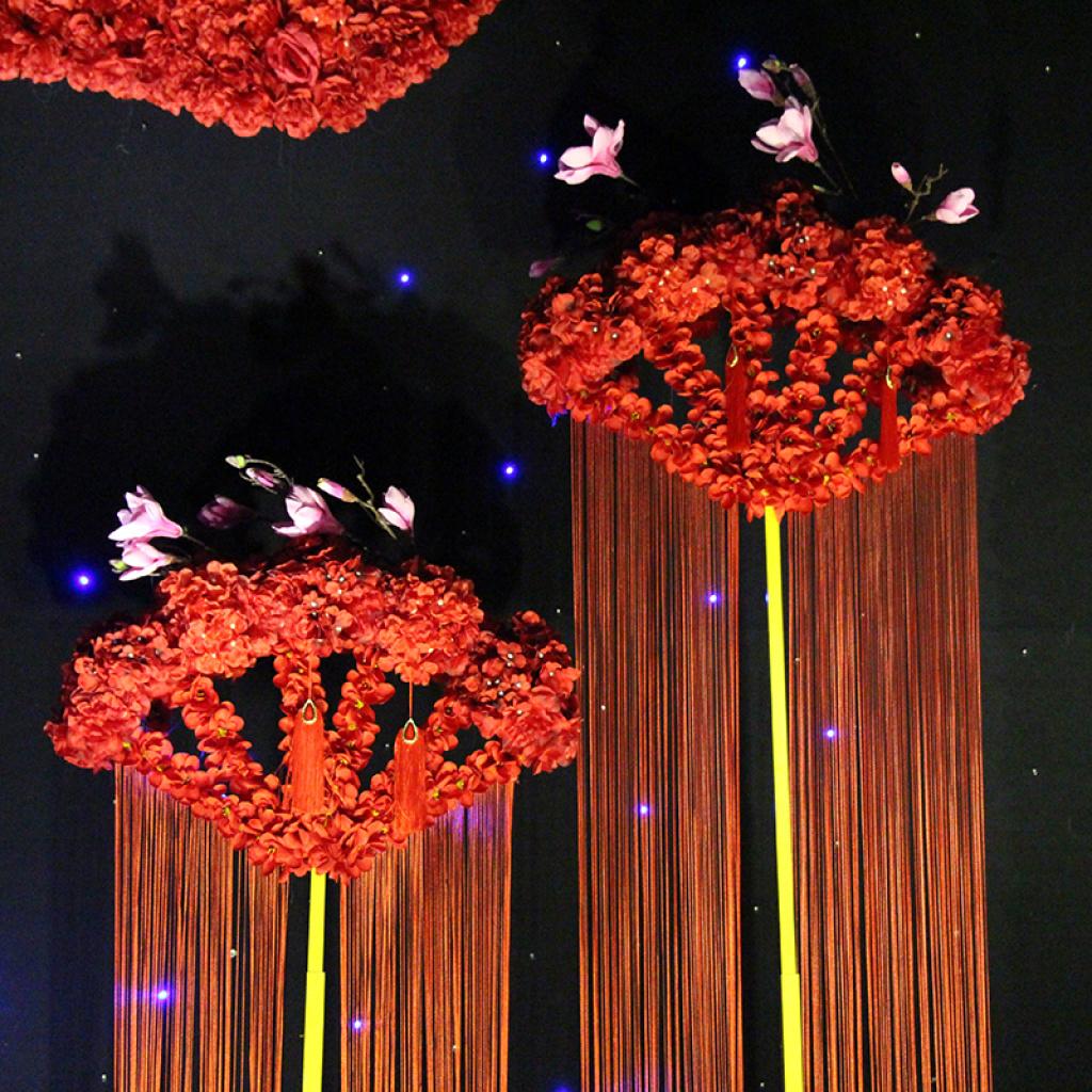 海韵婚庆道具 婚礼舞台布置 迎宾装饰 3件套 升降扇形摆件