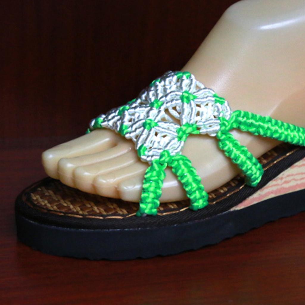 中国结手工编织绿色白花夏天凉拖鞋