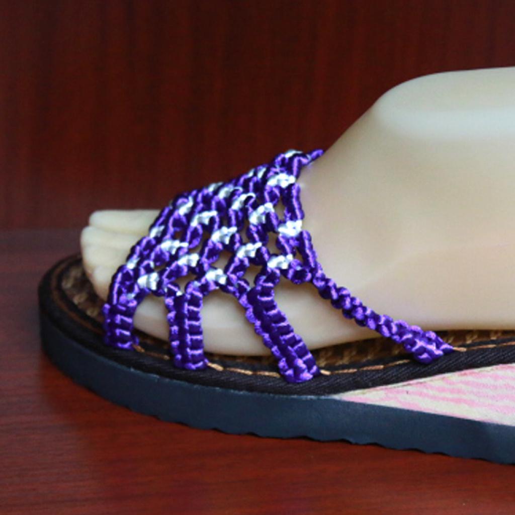 中国结手工编织紫色白夏天凉拖鞋