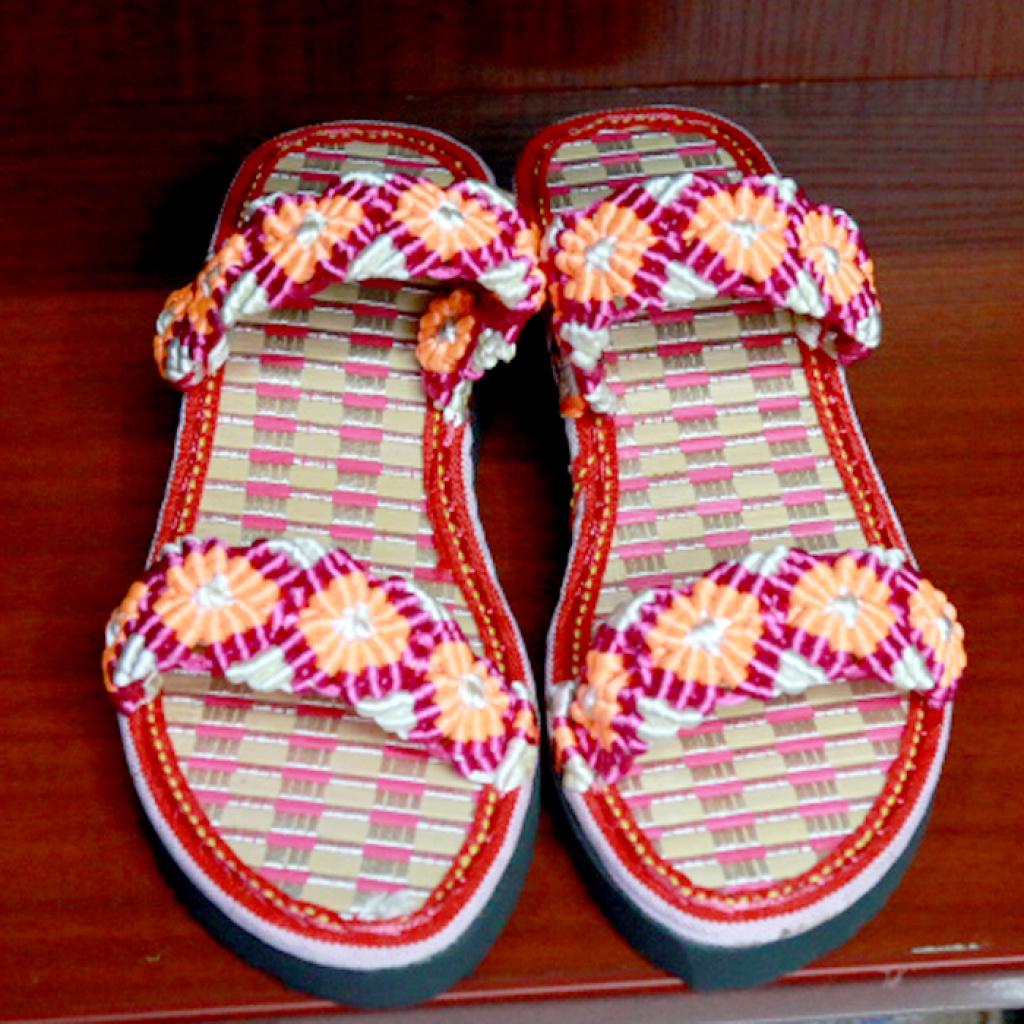 中国结手工编织红色黄花夏天凉拖鞋