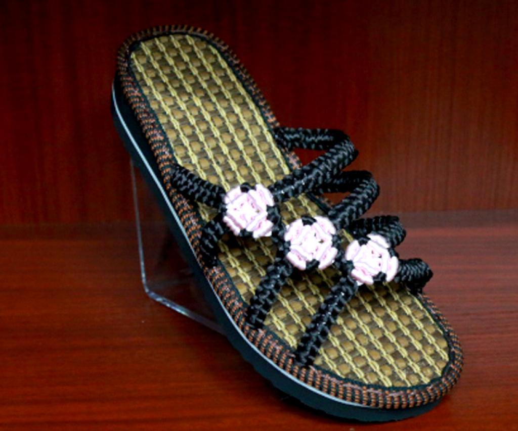 中国结手工编织黑色白花夏天凉拖鞋_秀雅轩_遵义国际