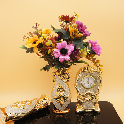 Three sets of ceramic plating vase table flower Home Furnishing bedroom living room decoration