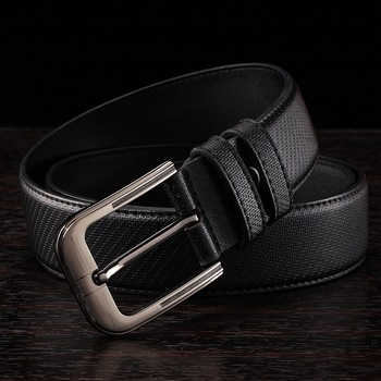 Men's leather buckle belt leather fashion casual jeans belt all-match wheat lines