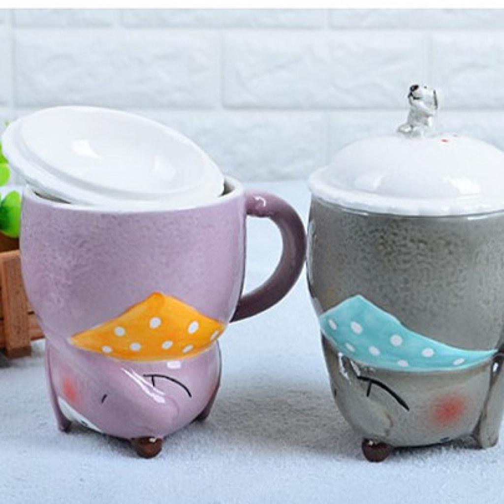 倒立狗带盖陶瓷杯创意可爱动物3d马克杯