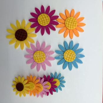 Wholesale non-woven sun sunflower hair headdress flower sticking leather rope rubber accessories