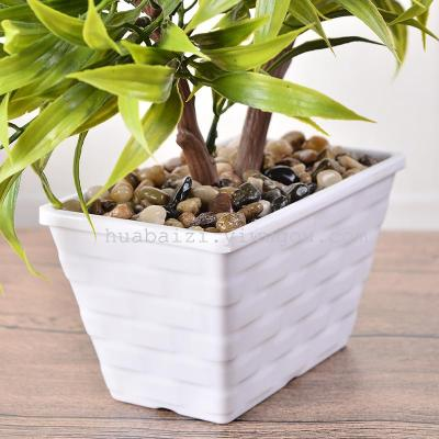 The simulation of V simulation pisifera flower pot word tree two tree bonsai bamboo plastic flowers flowers