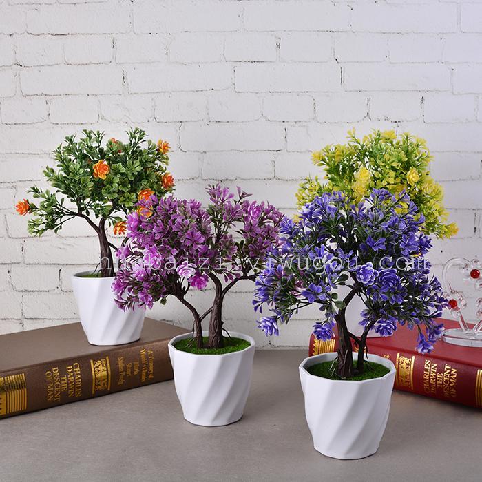 花柏姿仿真花卉套装山茶花盆栽塑料假花盆景