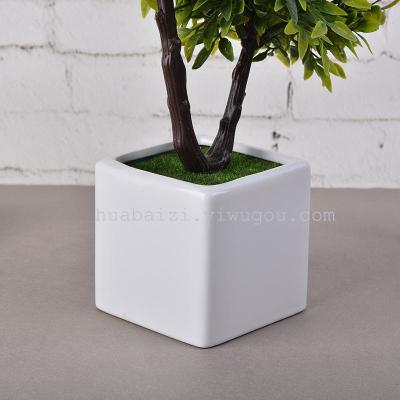 Artificial flowers 2 tree V word two fork tree potted bonsai flowers grass ball foam plastic flower craft flower pot