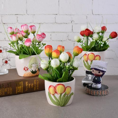 12 snow bud flower simulation set 12 small Potted Lily silk flowers