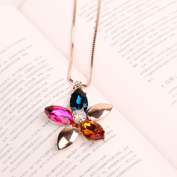 Name family wind colorful crystal long chain Big Flower Necklace new sweater chain personality female
