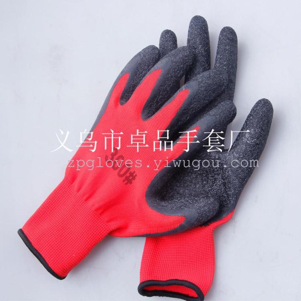 工业手套厂_劳保手套 13针尼龙乳胶皱纹手套 工业手套