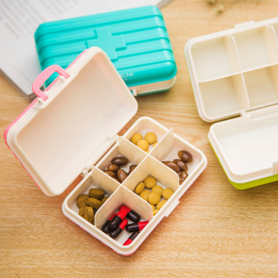 Travel luggage box multi-compartment medicine box portable medicine box portable medicine box 6 compartment pill box