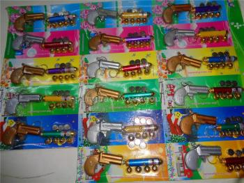 The new suction card electronic toys five head laser with double barrelled gun
