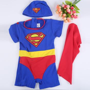 Superman costume design children swimsuit Siamese swimsuit swimming cap design