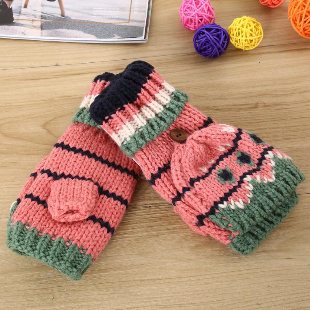 三朵花加盖半指手套冬季加绒加厚五指防寒保暖