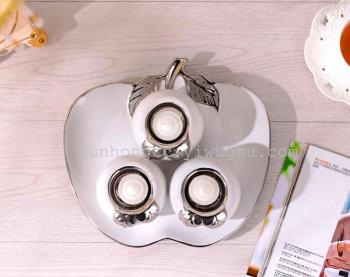 Selling creative crafts decoration ceramic candle sets Home Furnishing electroplating plate