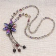 Folk style crystal flower hand woven sweater chain long exaggerated retro all-match European female Necklace accessories