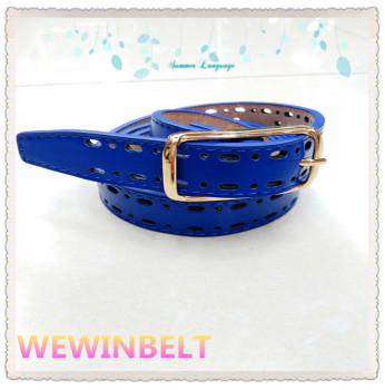 Simple hollow all-match jeans dress decorated Korean female belt