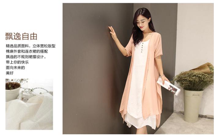 棉麻连衣裙模特图