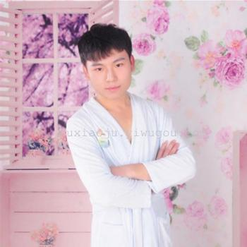 Soft and comfortable bamboo fiber bathrobe Nightgown Pajamas tie men home