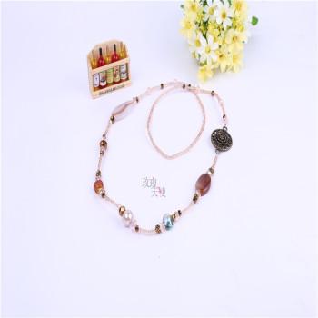 高档水晶玛瑙米珠项链长款玫瑰花毛衣链