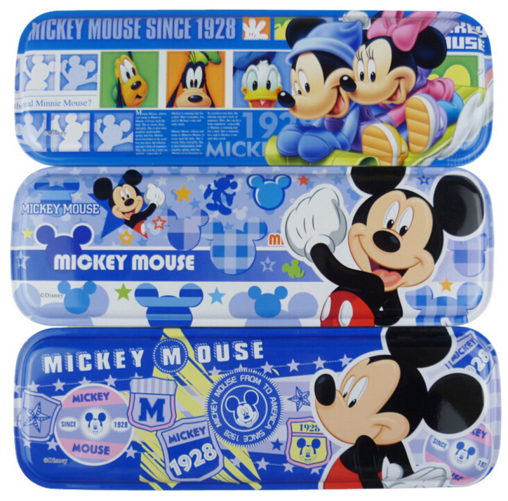 迪士尼儿童文具盒 批发文具盒 米奇图案双层铁笔盒