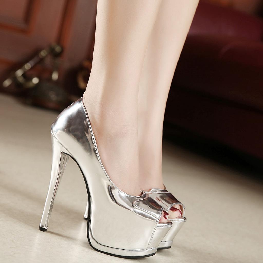 细跟超高跟女式单鞋春秋新款时尚女鞋欧美夜店性感银色鱼嘴鞋
