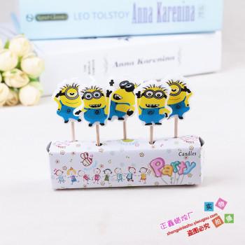 创意五只小黄人蛋糕蜡烛 儿童卡通生日蜡烛