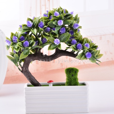 Bending rod pine bonsai rectangular ceramic flower pot flower simulation red bayberry yingkesong pot