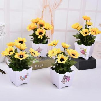 7 small potted flower sunflower fork silk flower pot simulation King plastic flower flower pot stickers