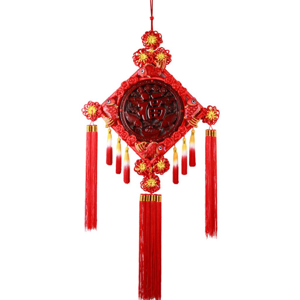 大号方形香樟木木雕中国结