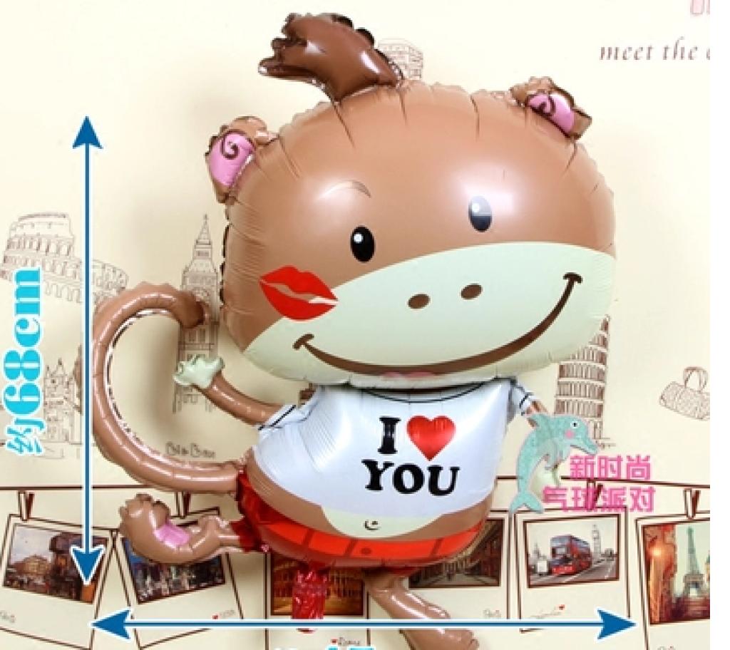 爱心猴子唇印love卡通大嘴猴铝膜气球图片