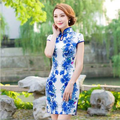 The new spring and summer women's fashion slim silk cheongsam dress dress