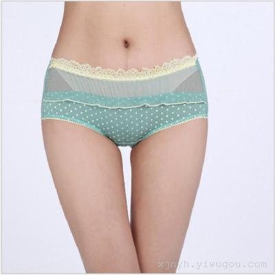Lady lovely women underwear lace yarn modal dot lace panties