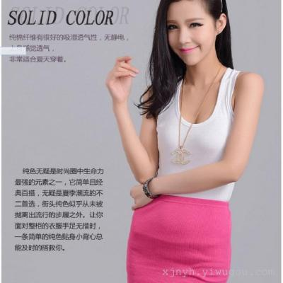 Vest tight all-match short slim female - large size women cotton shirt female bodybuilding summer