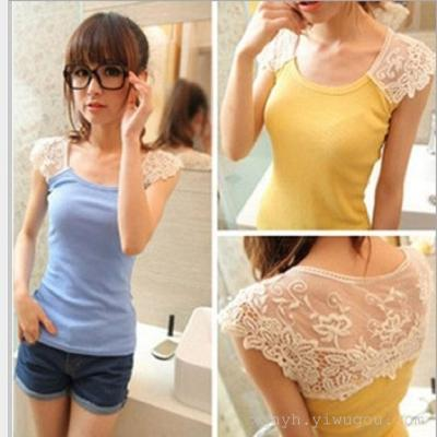 Ladies Cotton Vest knitted sexy slim shirt wearing sleeveless loose all-match tide in summer