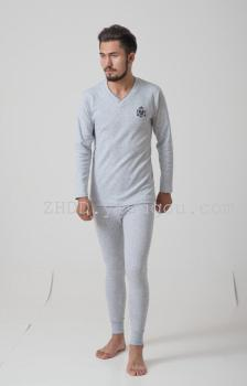 Man V collar winter single long johns thickening embroidery combed cotton Lycra super elastic thermal underwear sets