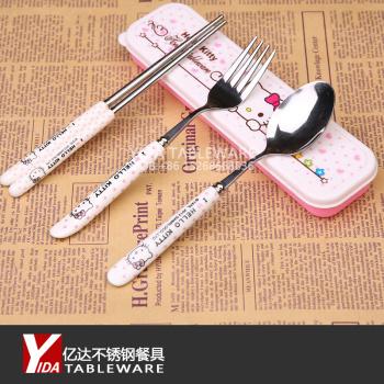 韩式可爱奶牛纹陶瓷柄不锈钢便携餐具 筷子勺子旅行餐具卡通套装