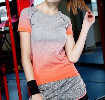 High gradient elastic Female Yoga Dance Fitness quick dry short sleeved T-shirt sportswear