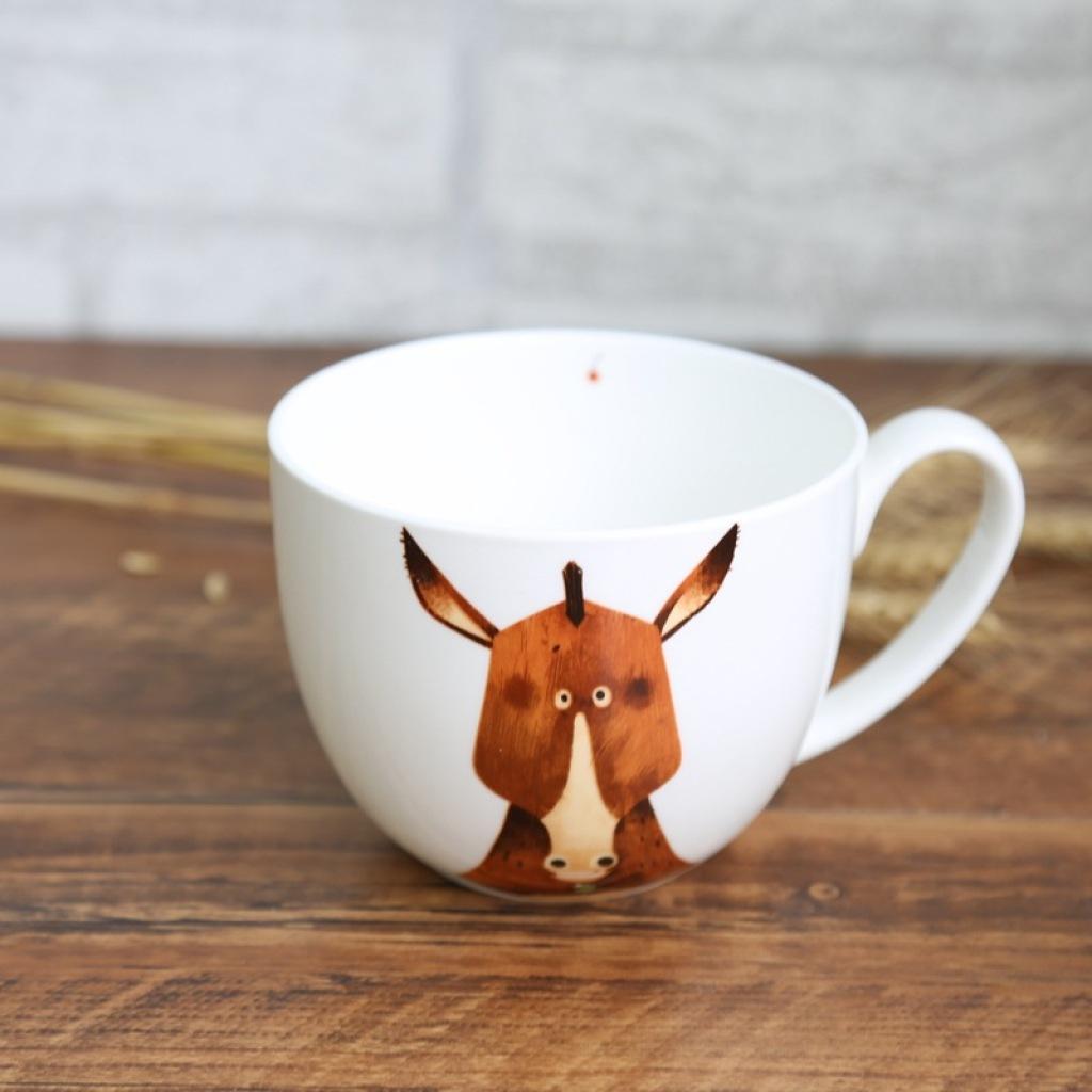 北欧萌系动物面碗 大容量早餐杯 创意马克杯 水杯