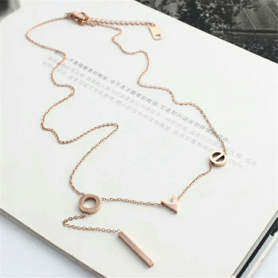 Korean fashion English LOVE titanium necklace bracelet earrings braceld other jewelry accessories manufacturers selling
