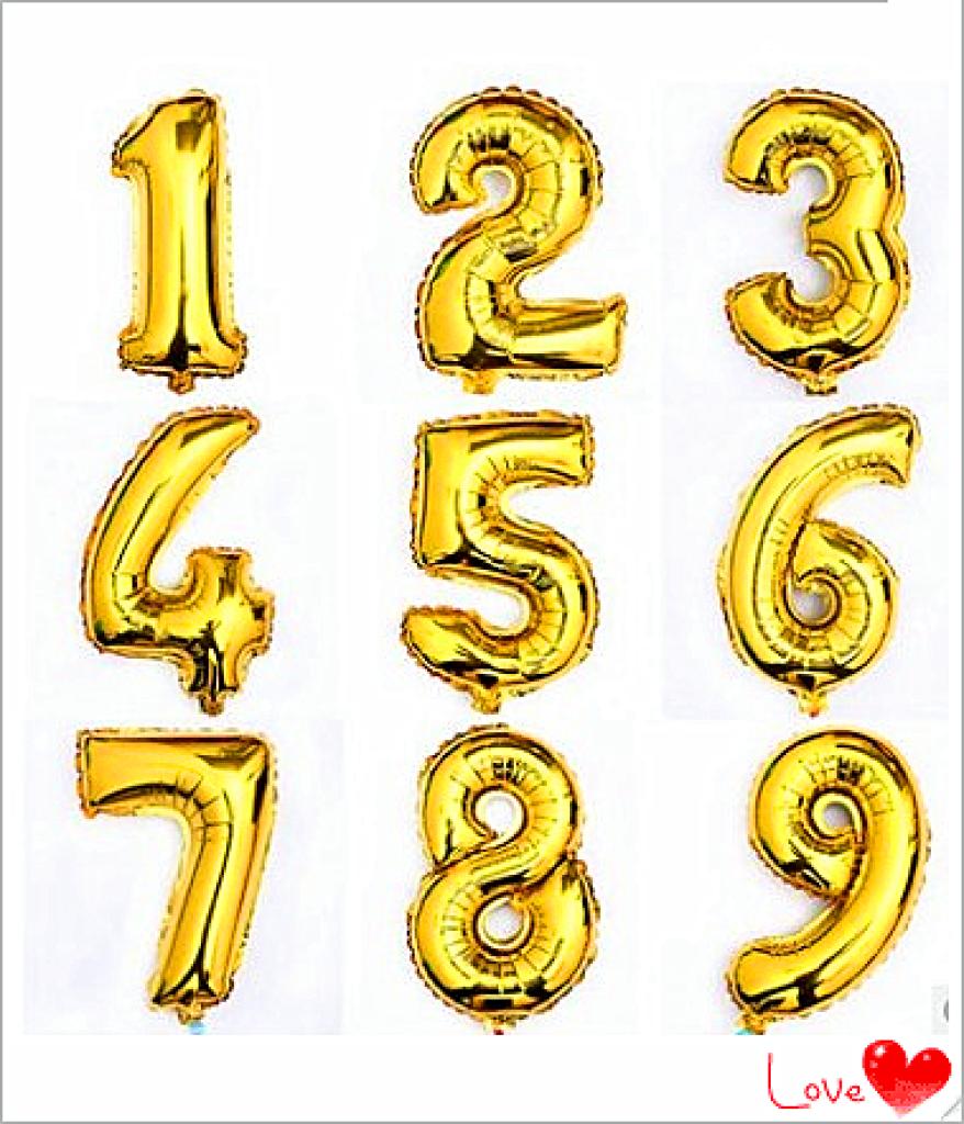 生日结婚喜庆16寸亮金数字字母铝膜气球