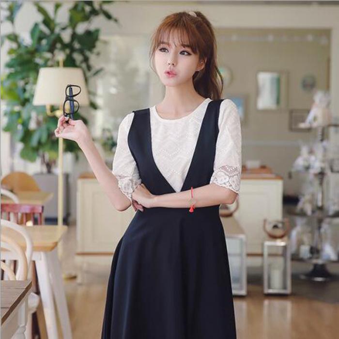 Two sets of lace shirt + thin strap dress
