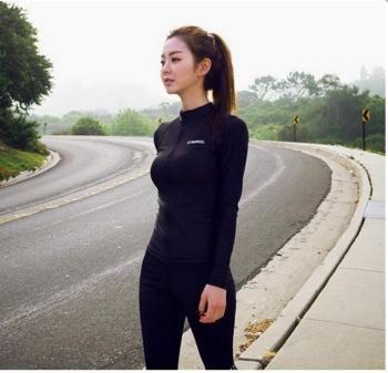 Female outdoor skiing diving suit zipper split long sleeved surf wear sunscreen swimsuit floating diving female clothing