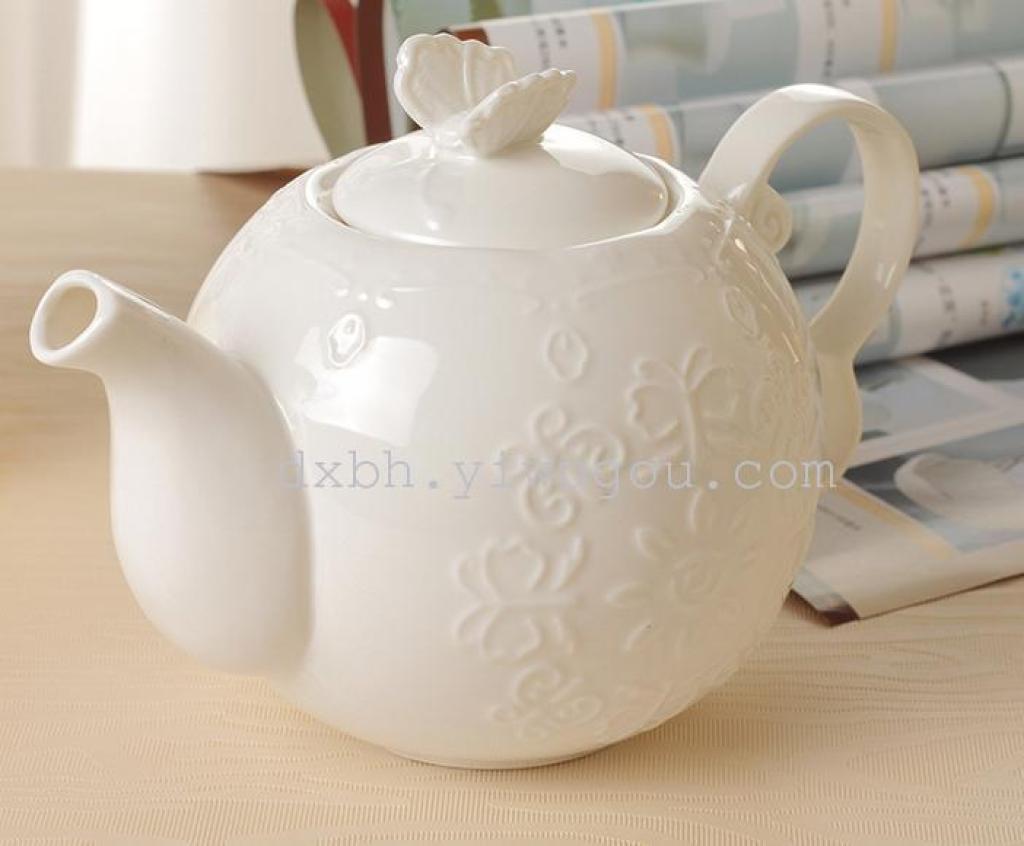 复古欧式蝴蝶花朵蕾丝下午花茶壶咖啡壶浮雕新骨瓷