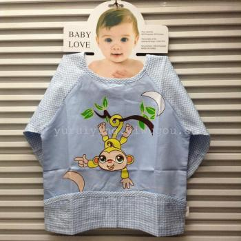 Cartoon printed seersucker gown waterproof cotton baby clothes children's meal painting clothes