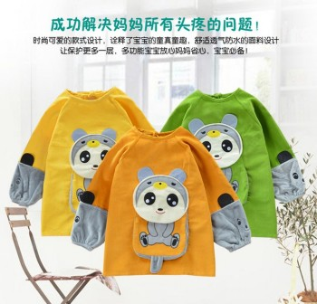 Baby food and clothing waterproof anti overclothes long sleeved cotton corduroy clothes protection apron pocket meal